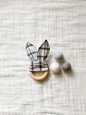 Crinkle Bunny Teether- Grey Plaid
