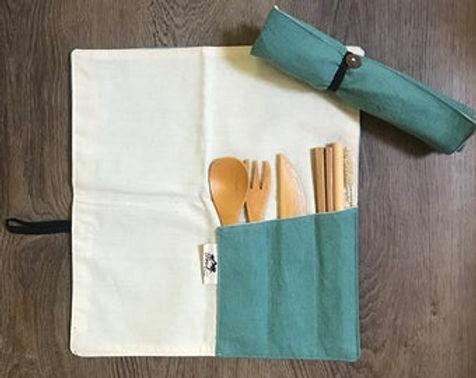 Eco Friendly Lightweight Organic Bamboo Utensils Linen Wrap