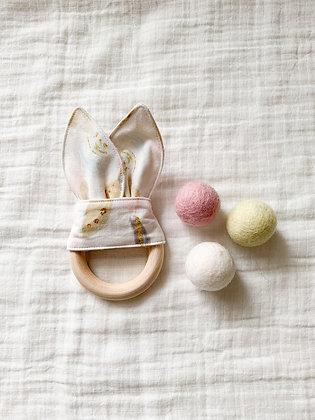 Crinkle Bunny Teether- Pink Flower