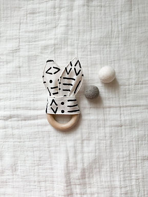 Crinkle Bunny Teether- Mud Cloth