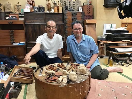 Tamaya Shobei IX with Karakuri enthusiast Justin Miles
