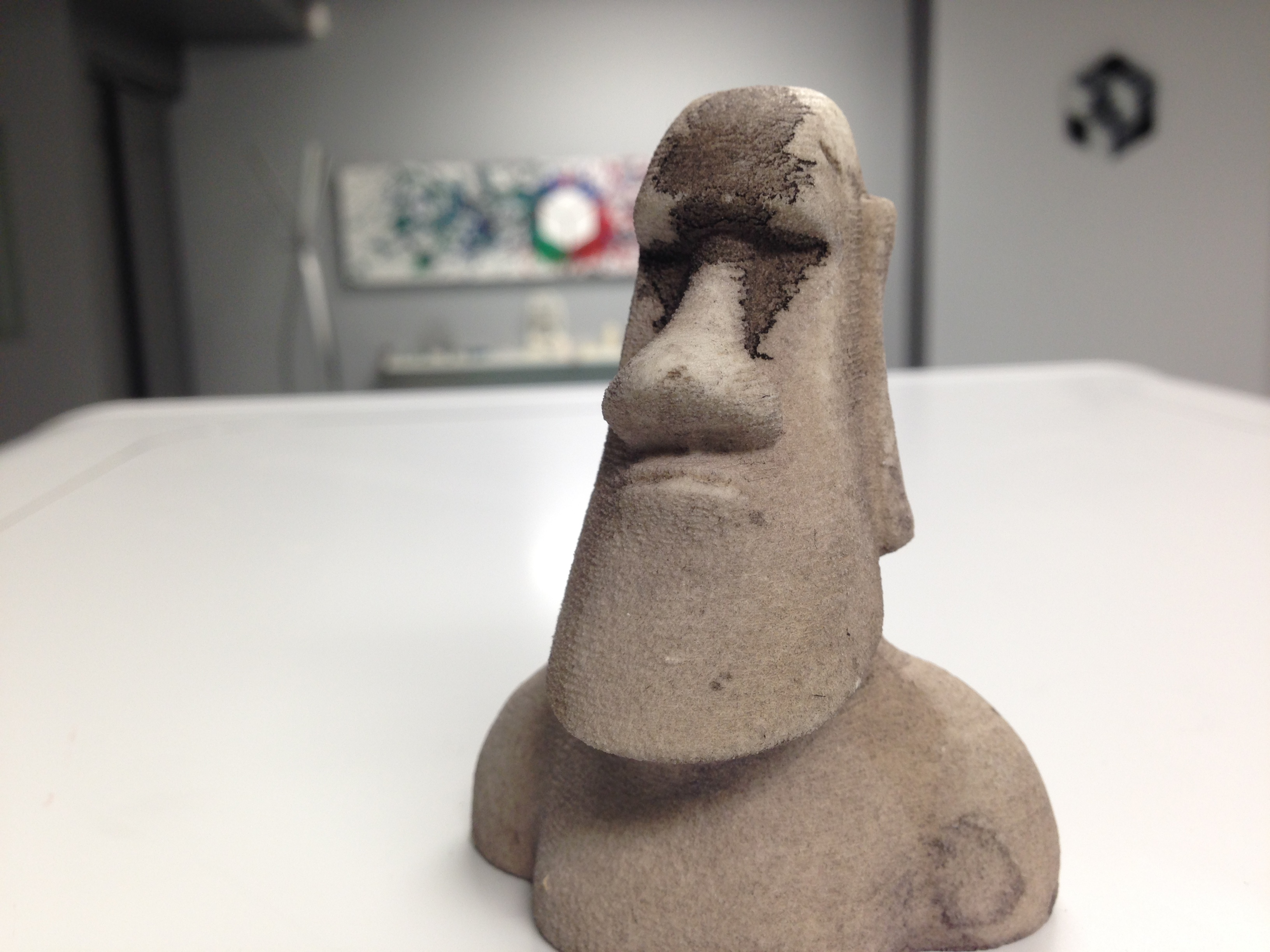 Dyed Moai statue