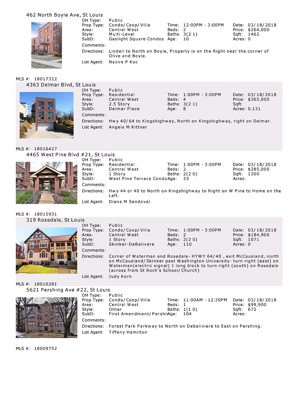 Central West End - St Louis - Open Houses - March 18th - www.stlouisliving.info