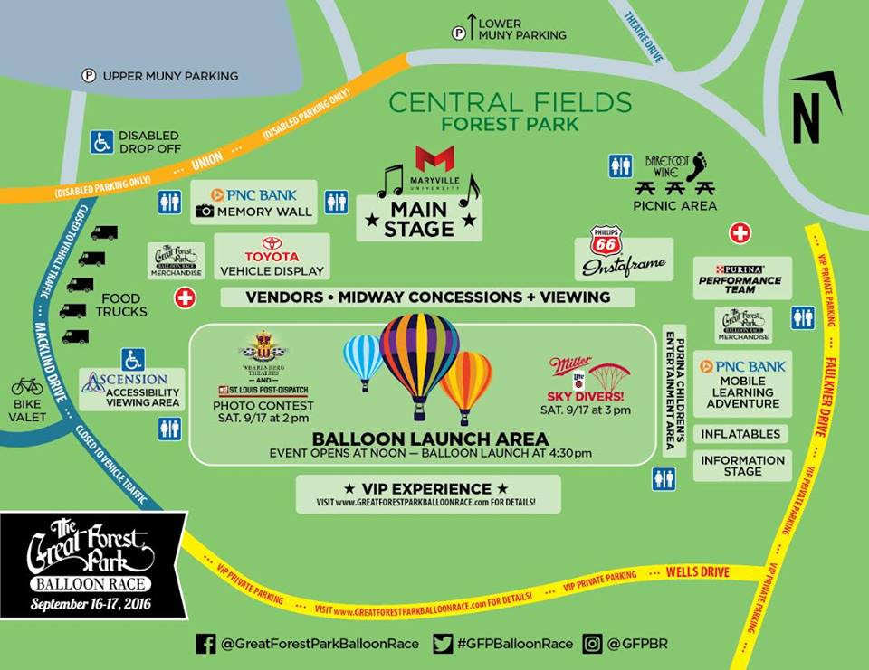 Map of The Great Forest Park Balloon Race in Forest Park 2016