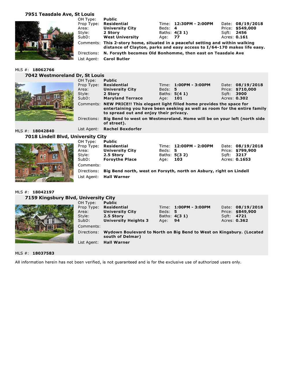 University City Open Houses 63130
