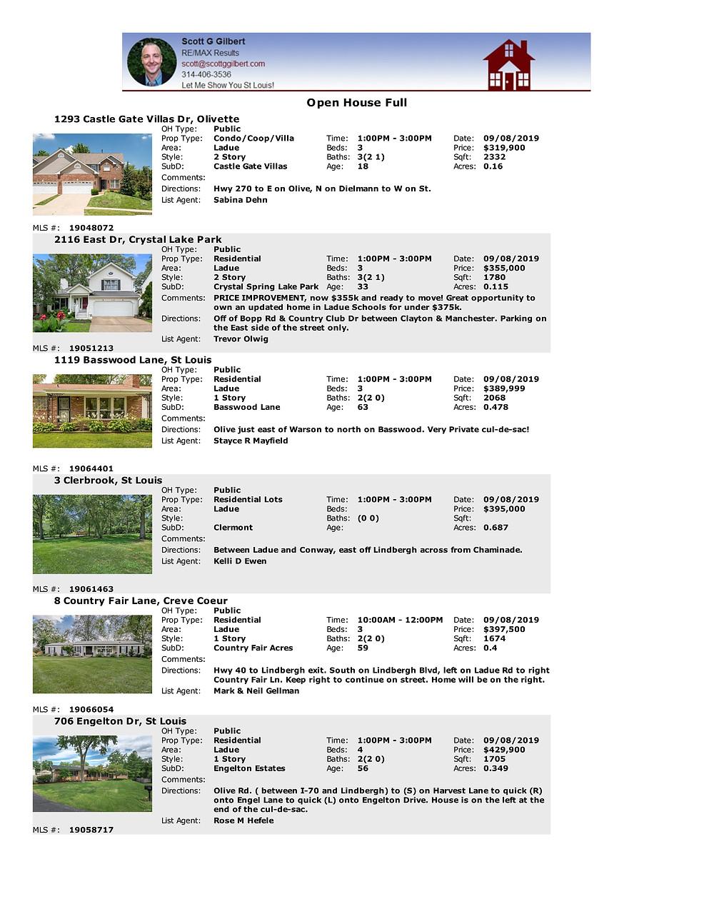 Ladue Open Houses