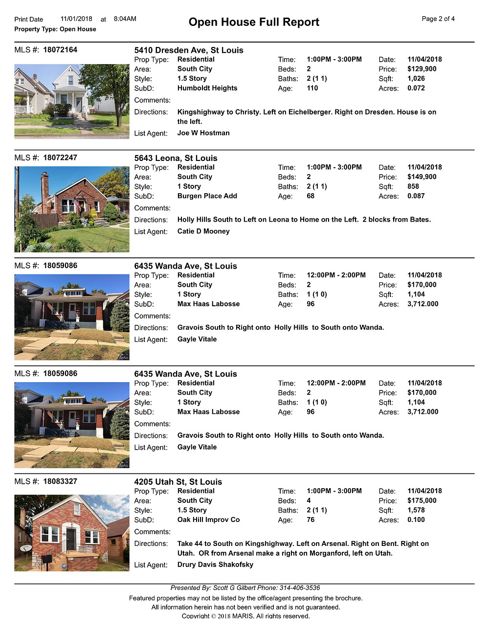 St Louis Open Houses 63116