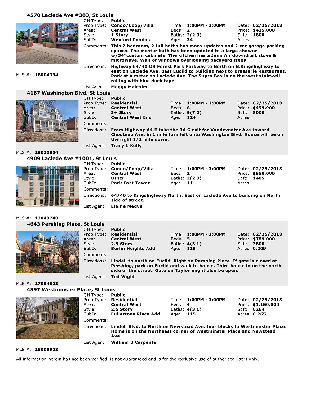 CWE Open Houses 2/25/18