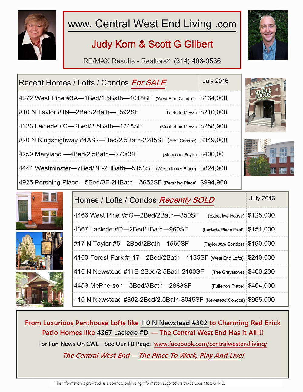 Central West End Real Estate Market Watch July 2016, Scott G Gilbert,Realtor