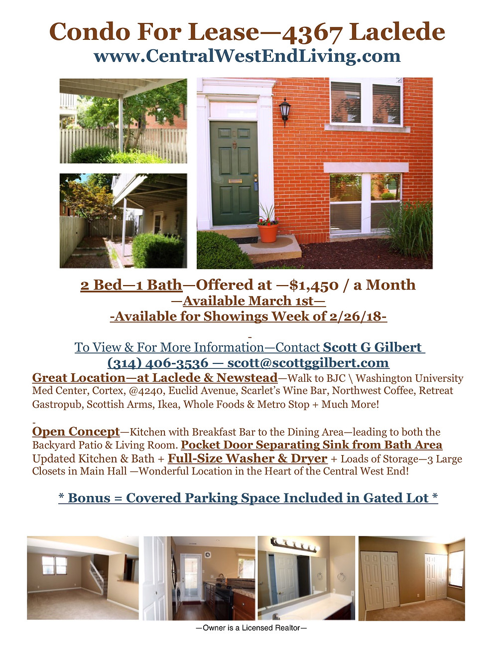 Condo For Lease | Central West End | Laclede | Newstead | March 2018