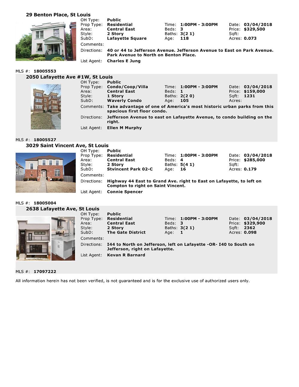 Open Houses in St Louis 63104 on 3.14.18 www.stlouisliving.info
