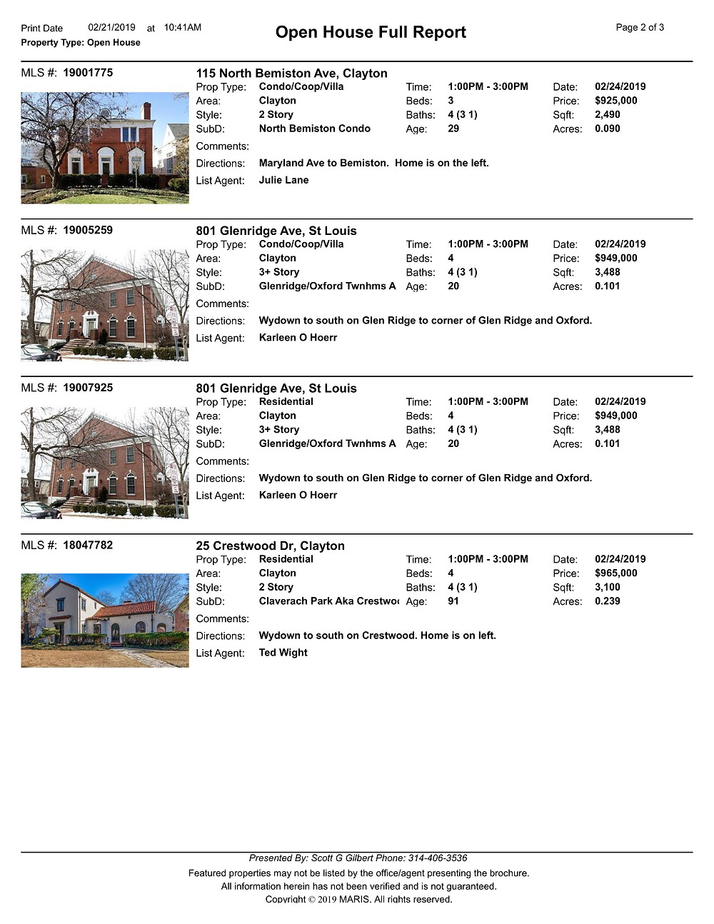 Clayton Open Houses