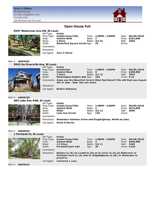 Central West End   Open Houses   Aug 5th   Central West End