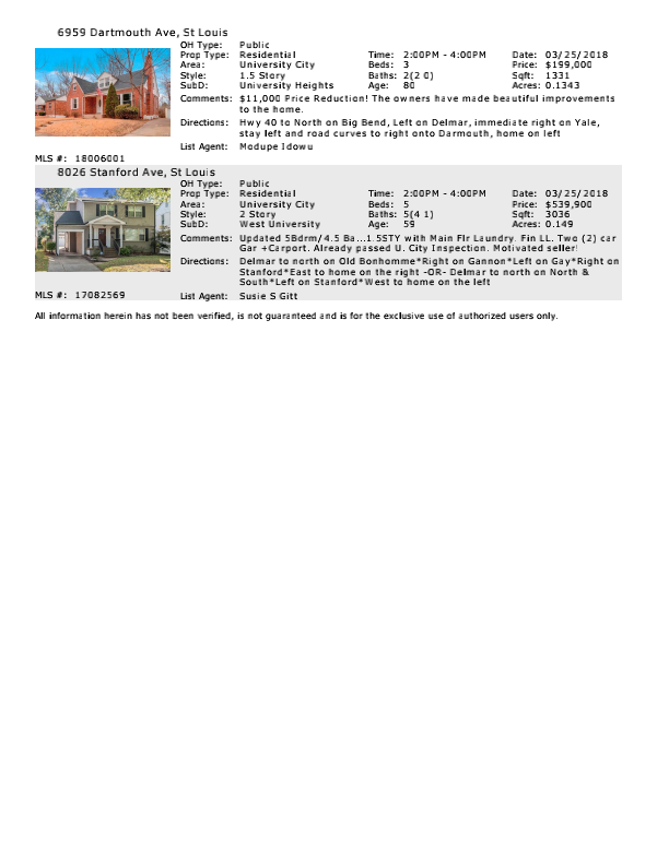 Open Houses - St Louis - University City - Buyers - 63130 - www.stlouisliving.info