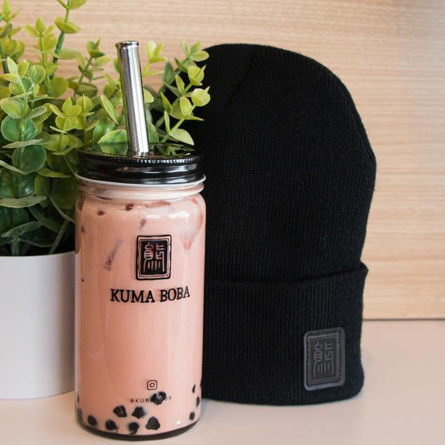 kuma boba bubble tea milk apparel black