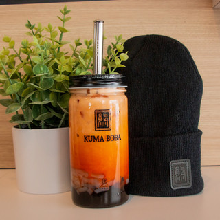 kuma boba bubble tea apparel black beani