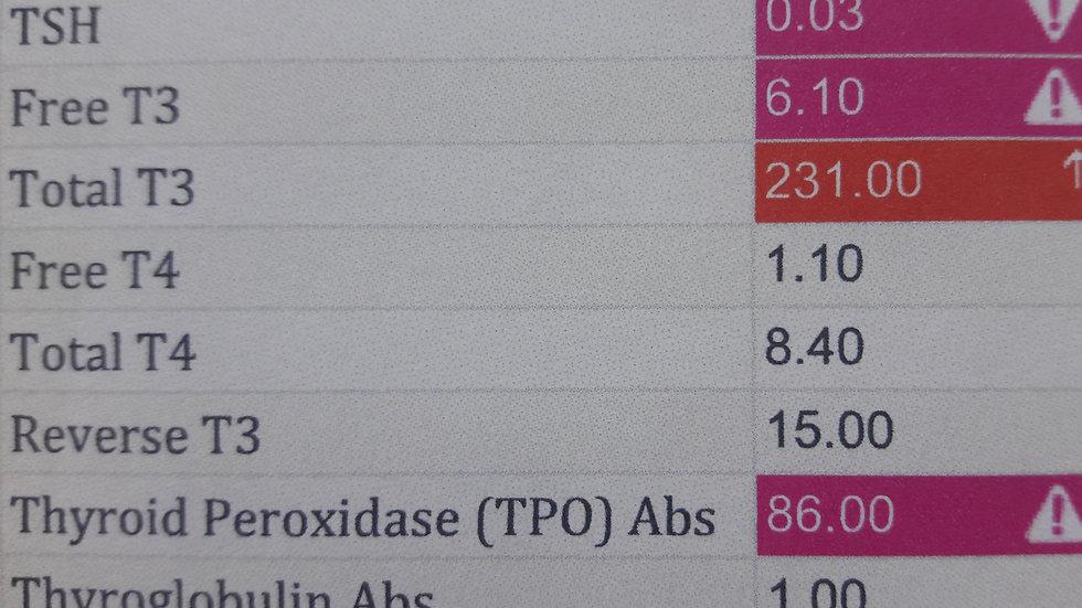 Adrenal, Thyroid Panel, Hasimoto's, Iodine, Progesterone, Testosterone, Estrogen