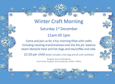 Winter Craft Morning : Saturday 1st December 2018