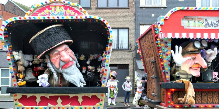 A antisemitic float on parade at the 2020 carnival in Aalst, Belgium. Photo: Reuters / Yves Herman.