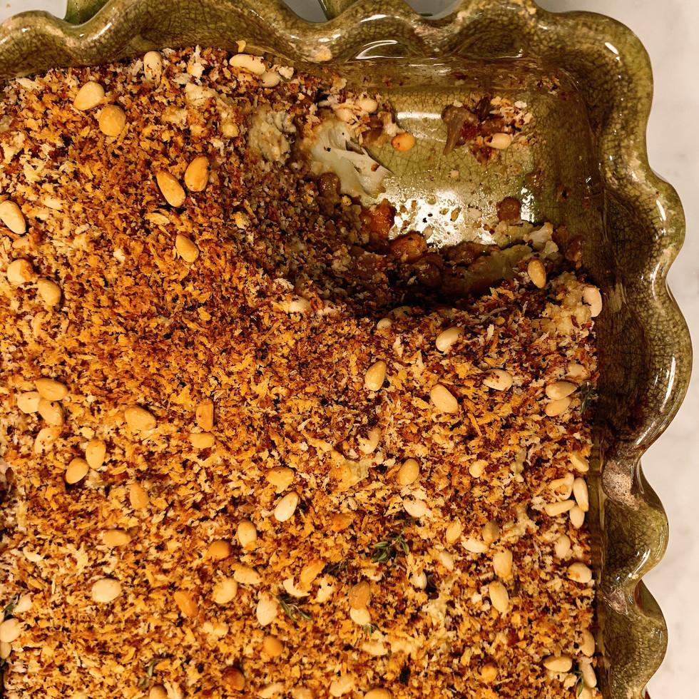 Roasted vegetable and lentils bake