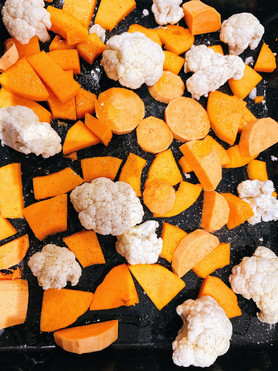 Cauliflower, sweet potatoes and butternut squash