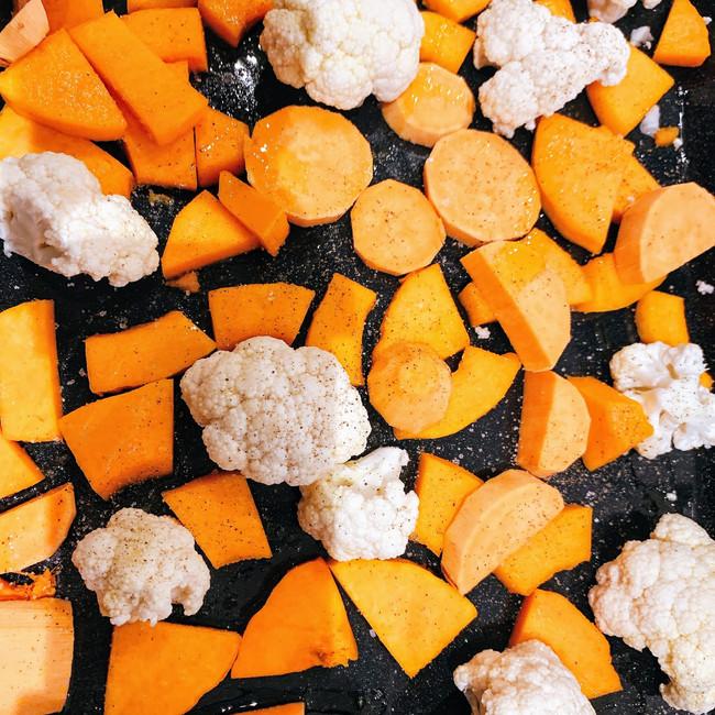 Cauliflower, sweet potatoes and butternut squash