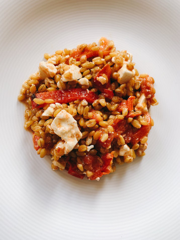 Farro salad with red pepper and feta.