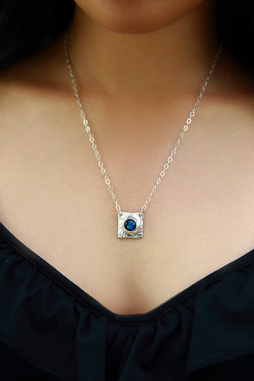 'Fair and Square' necklace with St Helena Fused Glass & Fine Silver
