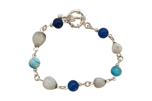St Helena Semi-precious bracelet with local Horsebead Seed -S.Plated