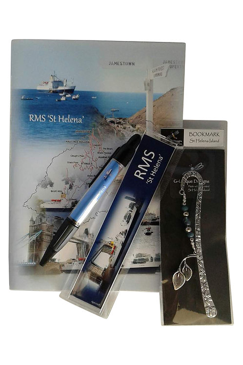 RMS St Helena gift set with Arum lily bookmark