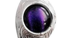 'Island Fusion'- fine silver & purple fused glass pendant necklace - St Helena Island.