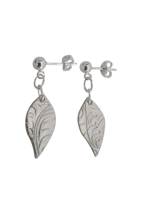 'Leaf love' Fine Silver earrings