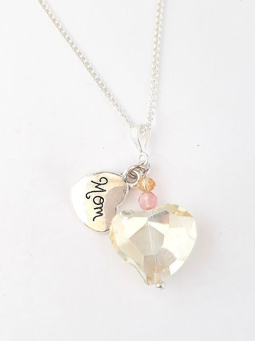 Mom crystal heart necklace