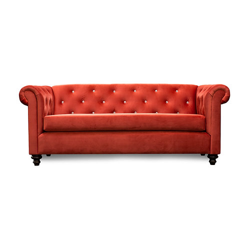 Red Velvet Diamond Tufted Chesterfield Sofa