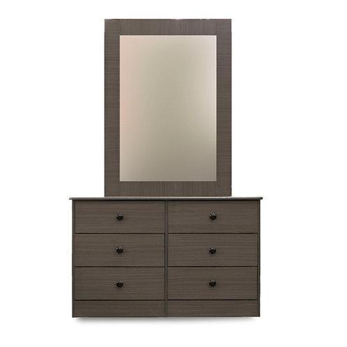 6-Drawer Chest w/ Mirror (Grey)