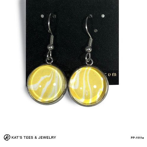 Yellow and white gold and white stainless steel earrings