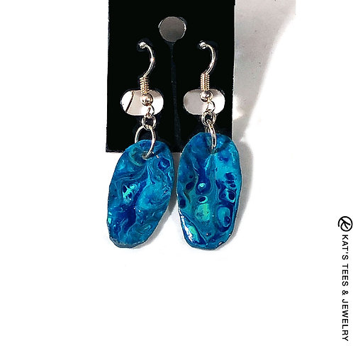 Small slate earrings in shades of turquoise and blue