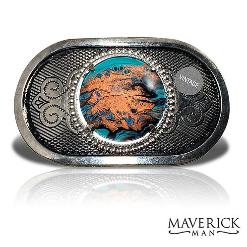 Unusual turquoise and copper stone in vintage belt buckle