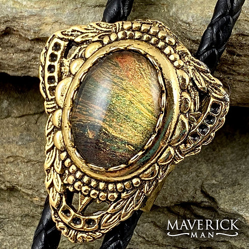 Handsome gold concho bolo with hand painted stone