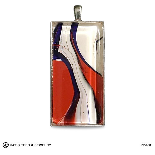 Large rectangle pendant in patriotic red white and blue