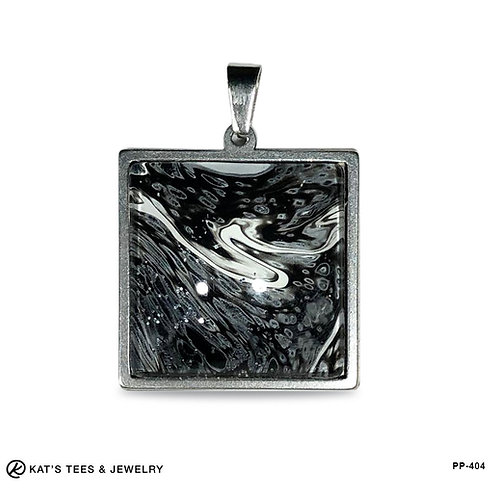 Artistic pendant in black and silver with glitter - stainless steel