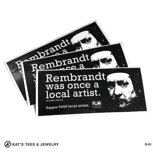 Rembrandt sticker - bumper sticker - decal 7x3