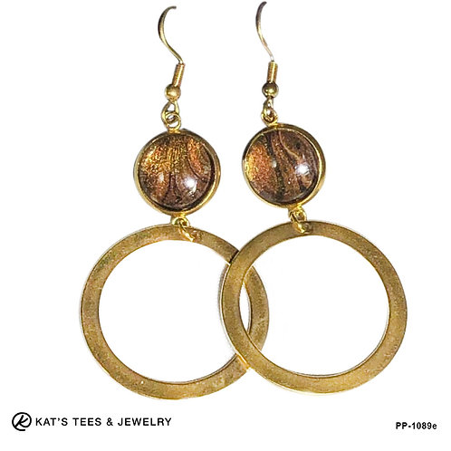 Dangly tiger eye earrings in gold plated stainless steel