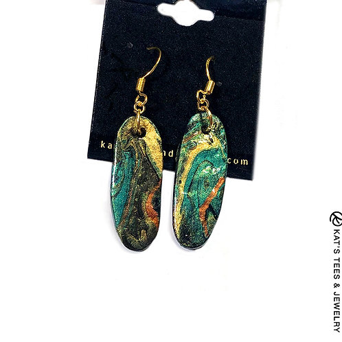Small slate earrings in Emerald City greens