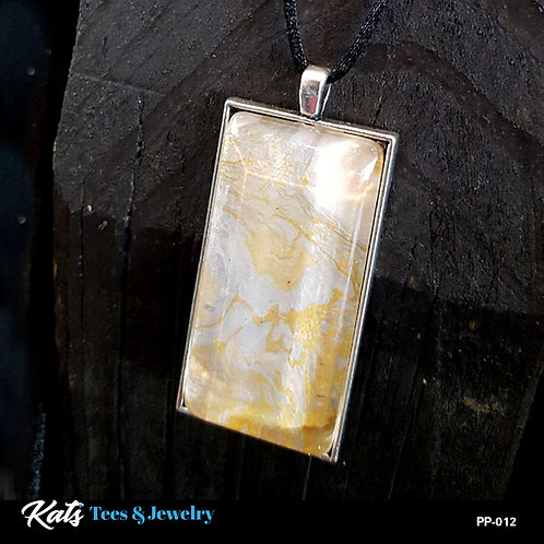 Poured Painting - 1x2 inch Pendant - silver and gold metallics  - wearab
