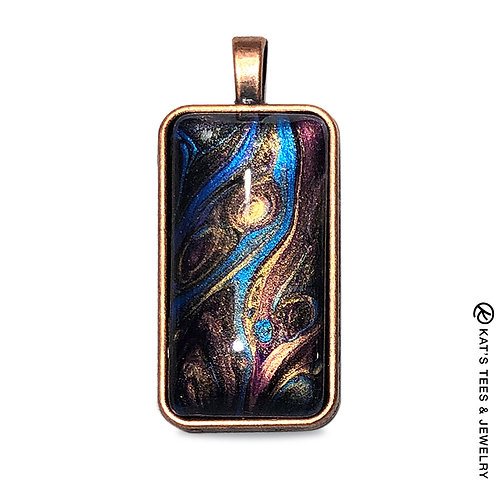 Metallic sapphire blue and gold poured acrylic pendant