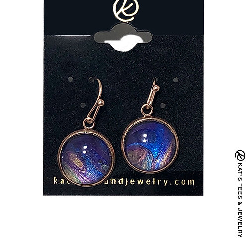 Metallic sapphire and purple earrings in rose gold stainless steel