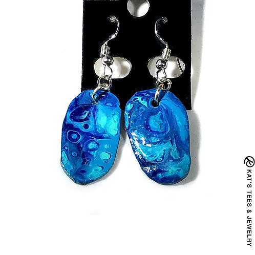 Beautiful slate earrings in shades of turquoise and blue