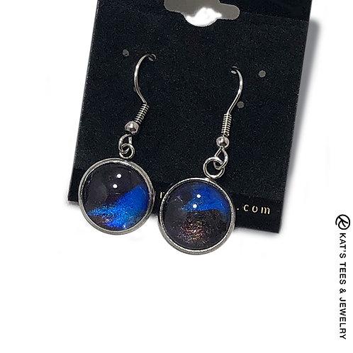 Stainless steel earrings in sapphire blue