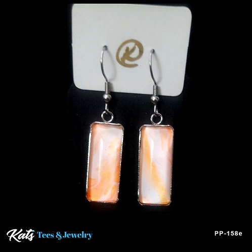 Stainless Steel earrings - orange and white - wearable art!